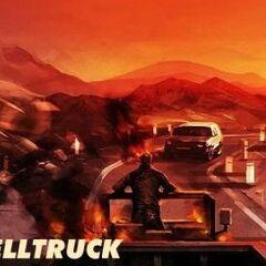 Ghost Rider driving the Helltruck