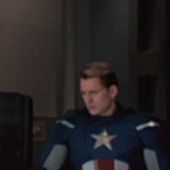 Captain America at the Avengers meeting.