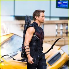 Jeremy Renner on set as Hawkeye.
