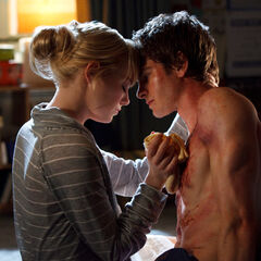 Emma Stone and Andrew Garfield as Gwen Stacy and Peter Parker.