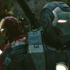 Iron Man and War Machine ready to fight.