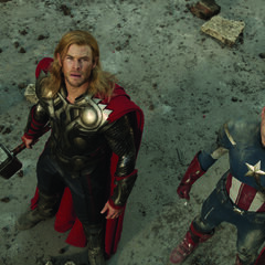 Thor with Captain America.