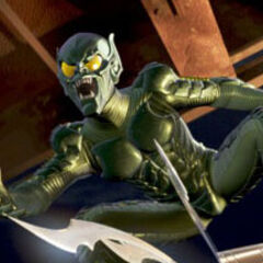 The Green Goblin activates the spears on his Glider.
