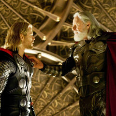 Odin about to banish Thor.
