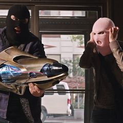 Benny and Claire use Item 47 to rob several banks