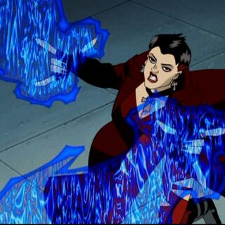 Scarlet Witch attacks the Sentinel.