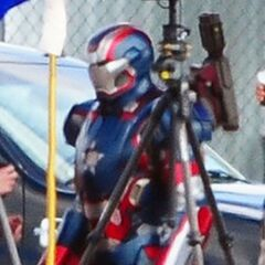 Iron Patriot on set.