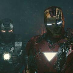 Iron Man and War Machine see Vanko's defeated