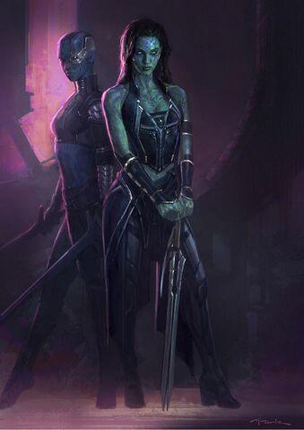 File:Gamora and Nebula Gotg Concept Art.jpg