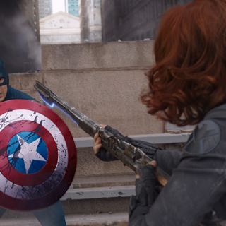 Captain America wielding his shield