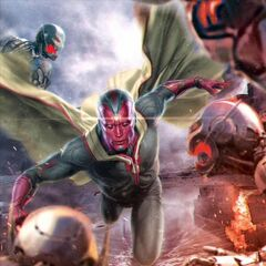 Promotional art of Vision vs. Ultron Sentinels