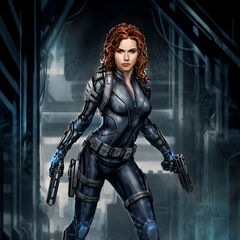 Production concept art of Black Widow for The Avengers.