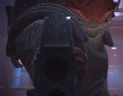 Wrex apuntando con su arma