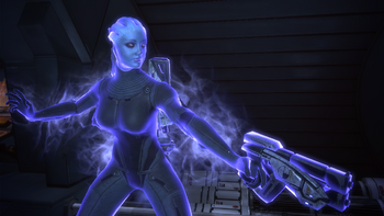 Liara using warp