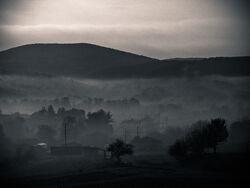 Foggy village by edarkknight-d34ns0f