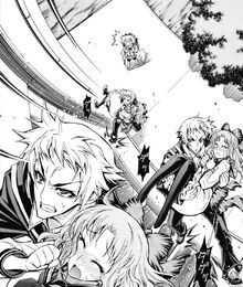 Zenkichi runs up a wall with Emukae