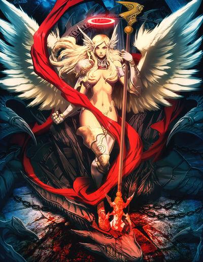 Devil killing angel by genzoman-d3ed8gi