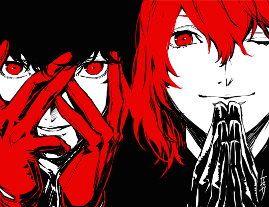 File:P5 Illustration of the Protagonist and Goro by Rokuro Saito.png
