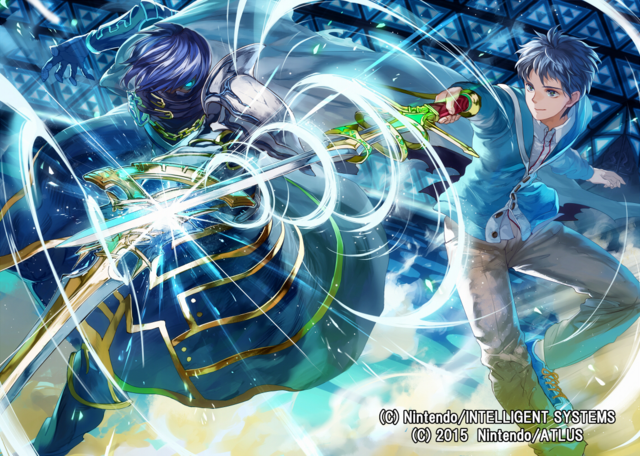File:Itsuki Aoi and Chrom illustration by まよ for Fire Emblem Cipher Series 4.png