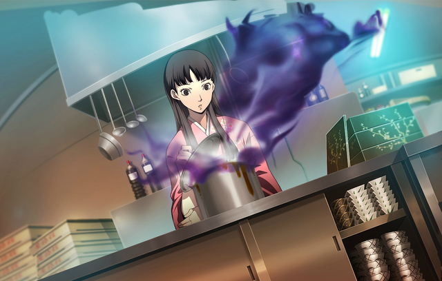 File:P4AU (P4 Mode, Yukiko checking her cooks).png