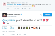 Troye and Melanie Tweet