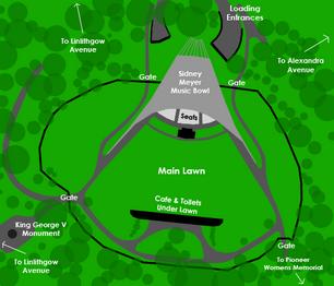 Sidney Myer Music Bowl Map