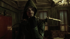 Oliver dons his vigilante suit for the first time