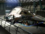 Delta Flyer in its hanger