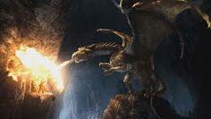 Dragon attacking Merlin