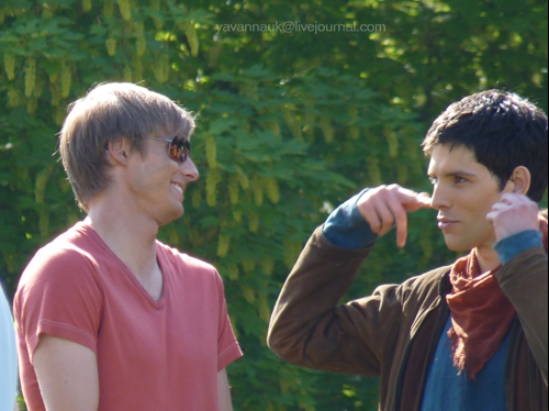 Image - Bradley James and Colin Morgan Behind The Scenes ...