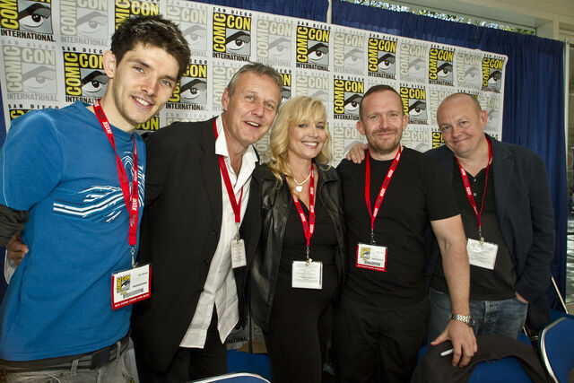 File:Colin Morgan Anthony Head Johnny Capps and Julian Murphy.jpg