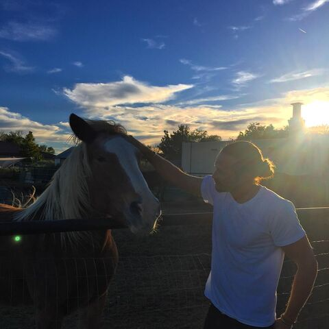 File:BTS Jason Lewis with a Horse, New Mexico.jpg