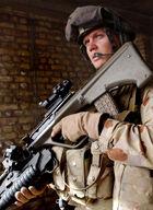 Australian RAR soldier and his 'bullpup' rifle