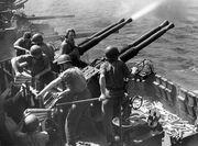 Bofors firing USS Hornet