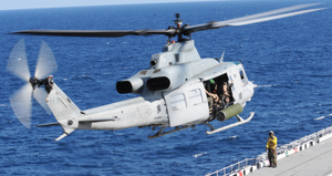 UH-1Y takes off from USS Wasp