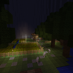 The wolf spawn point. Note the field of wheat and the wood hut.