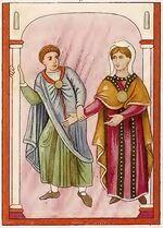 Evangeliar München 780-850, Maria im Tempel, trachtenkunstwer01hefn Taf.012d