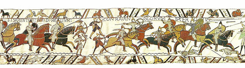 Bayeux Tapestry - Here fell dead Leofwine and Gyrth, brothers of King Harold