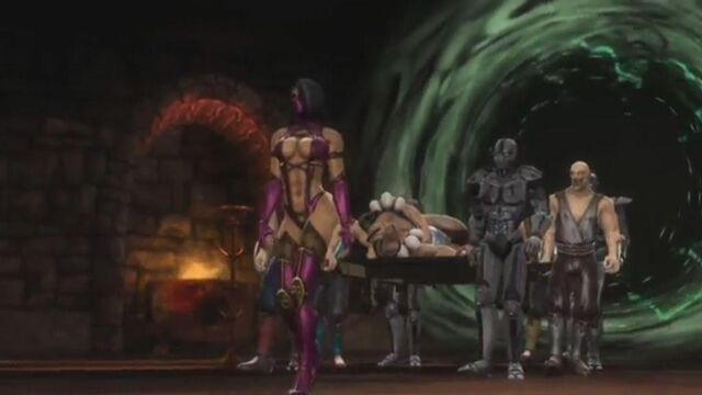 File:Motaro body is brought to Shao Kahn.jpg