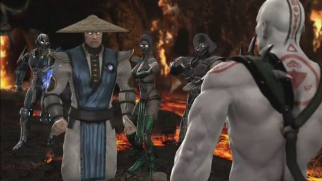 File:Jade, Smoke and Sub-Zero preparing to attack Raiden.JPG