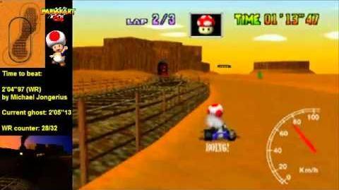 """Mario Kart 64 WR 2'04""""85 Kalimari Desert"""
