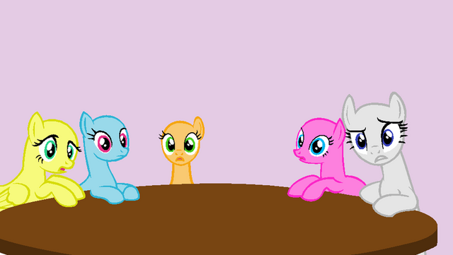 File:Surprised ponies around a table base by rain approves-d51qjsh.png
