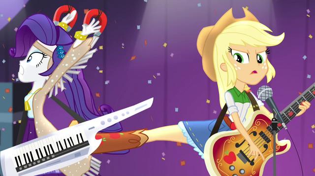File:Applejack kicks Rarity away from her EG2.png