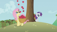 Apples falling into Fluttershy's basket S1E4