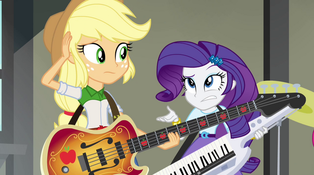 File:Applejack and Rarity wondering why they aren't transforming EG2.png