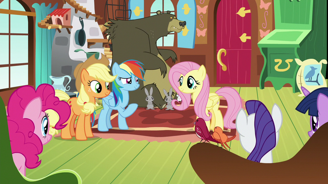 File:Main five and animals listen to Fluttershy S7E5.png