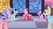 Pinkie Pie dancing as BG ponies watch S01E26