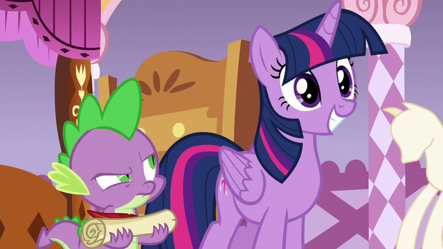 File:Spike looking at Twilight frustrated S6E22.png