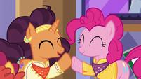 Pinkie Pie and Saffron Masala hoof-bump S6E12