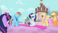 Rainbow Dash appears proud of her save of pony and dragon S02E10.png
